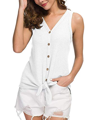 CASILY Womens Summer Sleeveless V Neck Button Down Tie Front Knot Shirts Tops White, Medium ()
