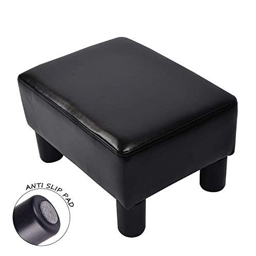 Cushioned Ottoman - windaze Ottoman Footrest Stool PU Leather Seat Couch Small Chair,Black