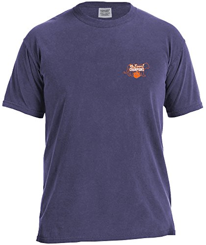 NCAA Clemson Tigers Adult NCAA National Champ Silhouette Comfort Color Short sleeve T-Shirt,Large,Grape ()