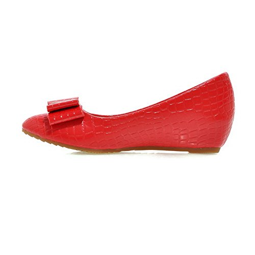 Rock Patent Ladies Cut Wedges Bows Red Climbing Low BalaMasa Uppers Leather Shoes Y8Odqwqx