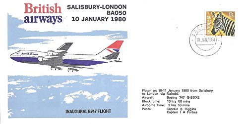 Great Britain (UK) First Day Cover 1980 British Airways Inaugural B747 Flight 17 Cent Rhodesia Zebra Postage Stamp Scott - Ms Airways