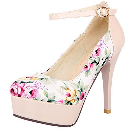 AIYOUMEI Damen Knöchelriemchen Plateau Pumps mit Blumenmuster Stiletto High Heel Elegant Modern Schuhe Beige
