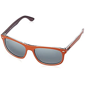 Ray-Ban INJECTED MAN SUNGLASS - TOP MAT ORANGE ON VIOLET Frame GREY MIRROR SILVER GRADIENT Lenses 56mm Non-Polarized