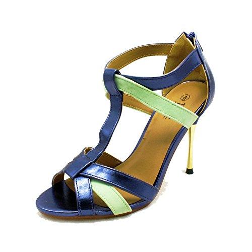 Damen-suedette Absatz-Sandalen mit Gold-Metall-Ferse Blue Metallic