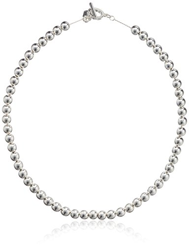 Chaps Women's 18Inch 8Mm Metal Bead Collar Strand Necklace, Silver