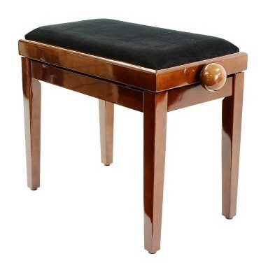 Legato Piano Bench With Cushioned Seat And Adjustable Height   Polished  Walnut
