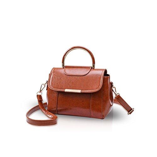 Handbag Leather Brown PU New amp;DORIS Crossbody Shoulder Women NICOLE Bag Messenger Brown SCIpqBnwx