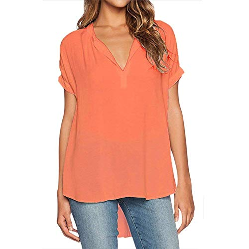 Chemisiers Shirt Manches Casual Permable Top Femme Mousseline L'Air Mode Chemisier Uni Orange Cou Irrgulier lgant Chic Branch Courtes Manche Et V qXwEXr