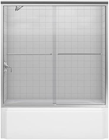 KOHLER K-702205-L-NX Fluence 3 8-Inch Thick Glass Bypass Bath Door, Brushed Nickel