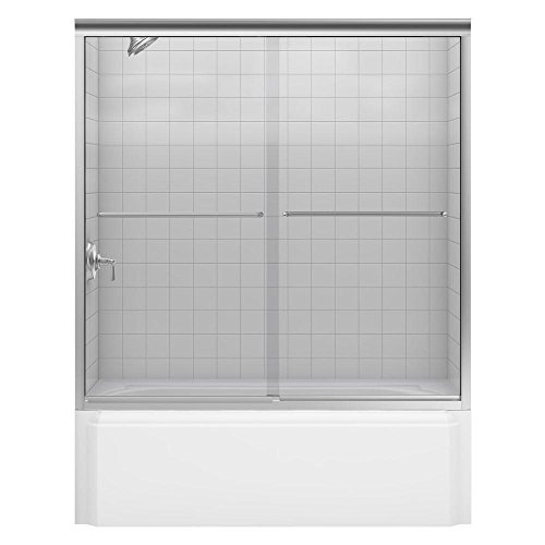 KOHLER K-702205-L-NX Fluence 3/8-Inch Thick Glass Bypass Bath Door, Brushed Nickel
