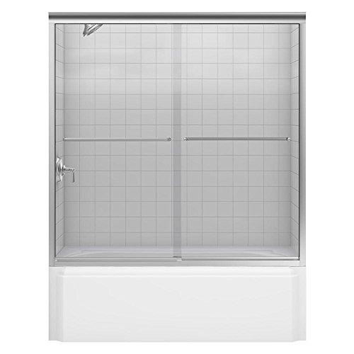KOHLER K-702205-L-NX Fluence 3 8-Inch Thick Glass Bypass Bath Door, Brushed Nickel