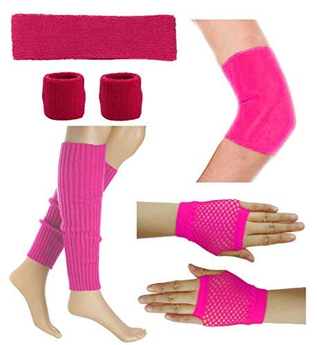 80's Retro Running Yoga Sport Headband Wristband Leg Warmers Elbow Guard Set (Hot Pink) ()
