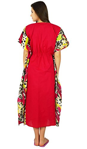 Bimba Womens Maxi Baumwolle Kaftan lange Pannel Kimono Kaftan Gummizug in der Taille Nacht Verschleiß Vertuschung Rosa FdcleAa