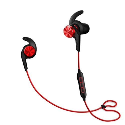 1MORE iBFree In-Ear Earphones Wireless Sport Headphones with Bluetooth CSR, IPX 4 Waterproof, Secure Fit and In-Line Remote for Gym Running Workout, iPhone and Android Compatible - Red by 1MORE