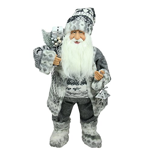 Northlight Alpine Chic Standing Santa Claus in Gray/White with A Bag and Lantern Christmas Figure, 24