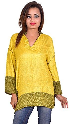Rayon-Pashmina-Indian-Kurta-Top-Lime-Color-Zig-Zag-Print-EthnicTunic-Kurti-plus-size