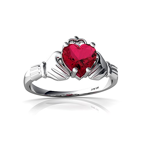(14kt White Gold Lab Ruby and Diamond 6mm Heart Claddagh Ring - Size 7.5)