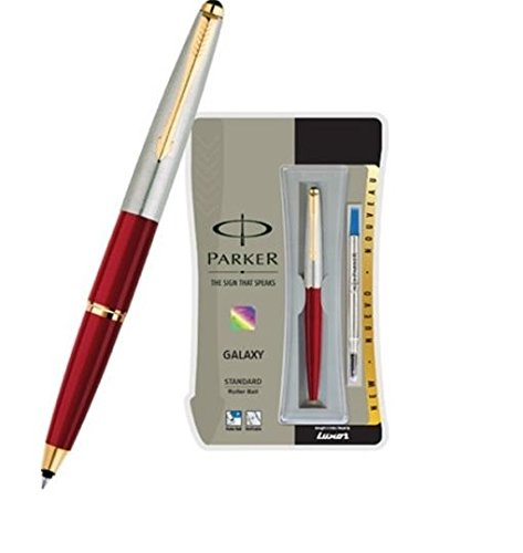 Parker Galaxy Std Gold Trim Roller Ball Pen (Red Body) by Parker