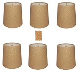 Upgradelights Natural Cork Chandelier Lamp Shade, Set of Six Shades, 5 Inch Retro Drum, Clips Onto Bulb. Model: Ui5inchcork