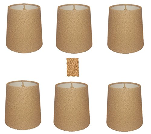 Upgradelights Natural Cork Chandelier Lamp Shade, Set of Six Shades, 5 Inch Retro Drum, Clips onto Bulb. Model: Ui5inchcork (Shade Burlap Chandelier Drum)
