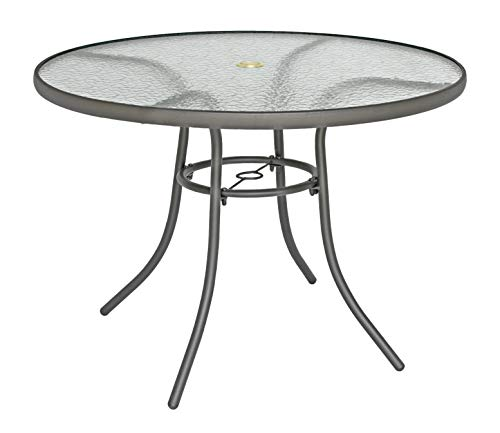 Rio Brands 40 inch Sienna Round Patio Table with Tempered Glass Top (Shadow Gray)