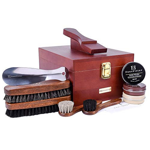 - FootFitter Premium Shoe Shine Valet Deluxe 10 Piece Set - Quality Shoe Polishing Kit!