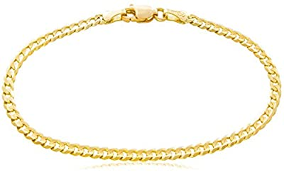 """Solid Gold Curb Chain Bracelet 14K Yellow Gold 3mm Wide Available in Lengths 7 to 8-1/2"""" by Fancy"""