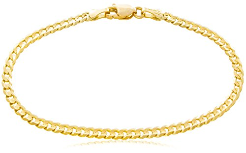 "Solid Gold Curb Chain Bracelet 14K Yellow Gold 3mm Wide by 7-1/2"" Long 