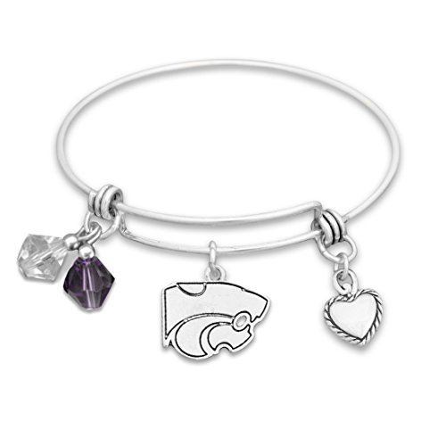 (FTH Kansas State Wildcats Silver Tone Bangle Bracelet, Colored Beads and Heart Charm)