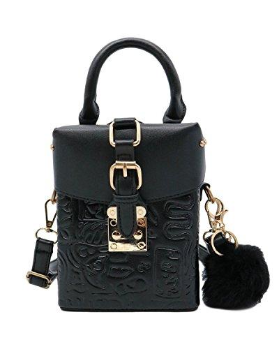 ZEN - Women Retro Crossbody Bag Mini Shoulder Handbag Cellphone Pouch With Fur (Black) by Find The Edge