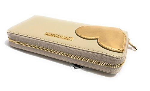 PORTAFOGLIO DONNA LOVE MOSCHINO CALF BIANCO AVORIO CUORE GOLD ZIP AROUND GRANDE A18MO07