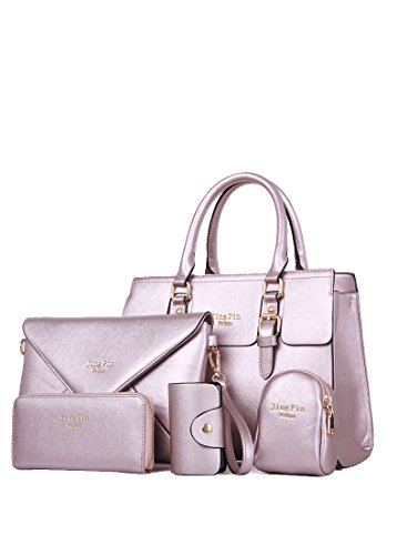 2016 Modern And New Fashion Lady Bag Tote Bag Top Handle Bag Satchels 5 Pcs Set (purple)