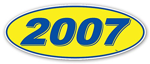 Donkey Auto Products Oval Model Year Window Stickers (Blue Numbers on Yellow) (12 Per Pack) - Donkey Sticker