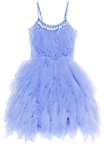 OBEEII Little Girl Swan Princess Feather Fringes Tutu Dress First Communion Party Wedding Dance Junior Bridesmaid Short Tiered Gown 3-4 Years Blue