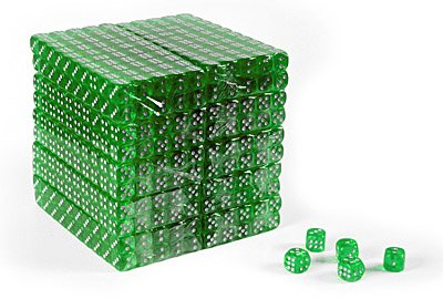 16mm Clear Green Gaming Dice with Rounded Corners - Set of 1,000 by Da Vinci