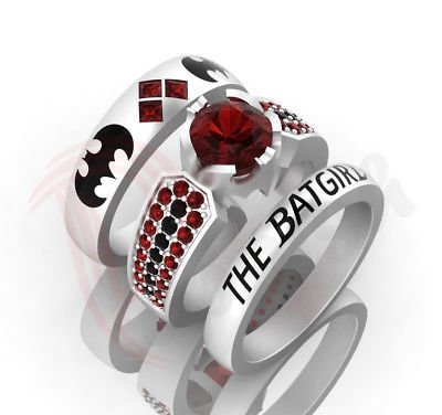2 Ct Garnet Bracelet - Harley Quinn Batman Theme 2Ct Red Garnet Engagement Wedding Ring Set 925 Sterling Silver All Sizes