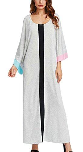 Les Femmes Domple Caftan Couleur De Contraste Manches 3/4 Gris Parti Musulman Maxi Robe Longue