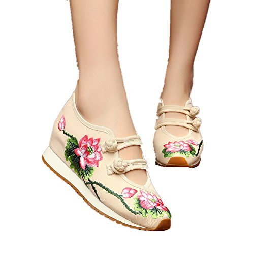 Chinese Embroidery Shoes Chinese style embroidered Canvas sports shoes beige