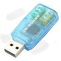 Placa de Som Externa Virtual de 5.1 Surround USB - Azul Claro