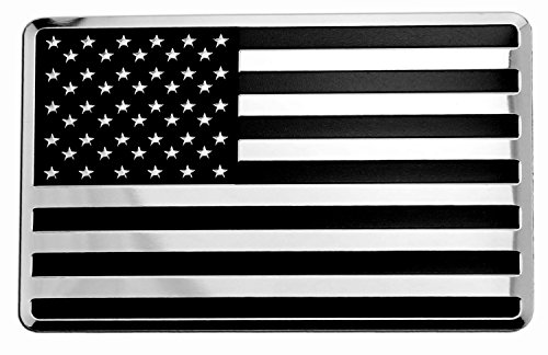 USA American Embossed Stainless Steel Metal Flag for Cars, Trucks (3.12