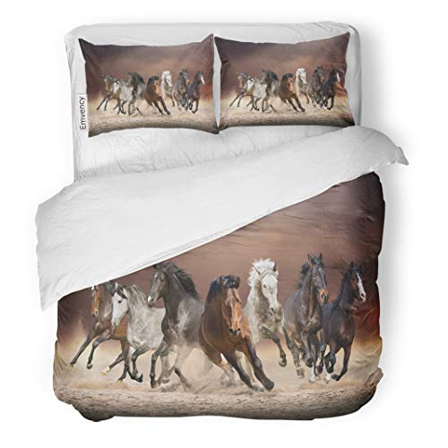 Semtomn Decor Duvet Cover Set Full/Queen Size Herd of Horses Run Forward Sand in The Dust 3 Piece Brushed Microfiber Fabric Print Bedding Set Cover
