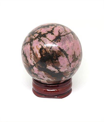 Rhodonite Stone (NSCTrading 50mm Pink Rhodonite Crystal Gemstone Sphere with Stand)