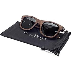 Noah   Wayfarer Wood Floating Sunglasses, Bamboo Frames, Polarized HD Lenses, Men's/Women's (Espresso Color Frame, Standard Lenses)