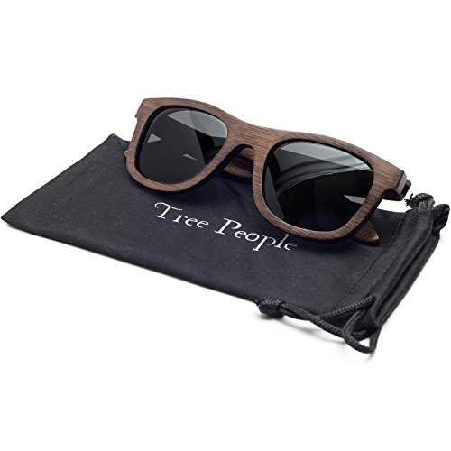 Noah | Wayfarer Wood Floating Sunglasses, Bamboo Frames, Polarized HD Lenses, Men's/Women's (Espresso Color Frame, Standard - Sunglasses Brands Skateboard