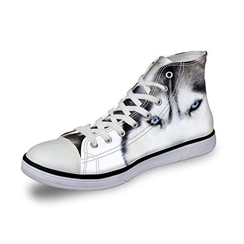 Bigcardesigns Uomo Casual Alta Cima Scarpe Di Tela 3d Animali Lace Up Sneakers Lupo