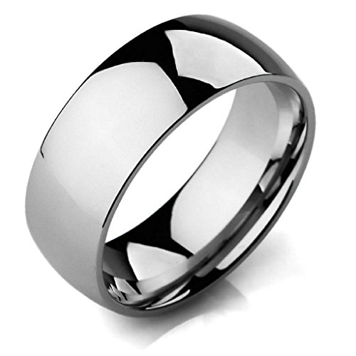 Aooaz Stainless Steel Rings For Men Silver Bands Simple Rings Size 11 Wedding Gothic Free Engraving]()