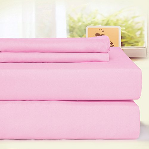 BLC Bed Sheet Set, Hypoallergenic Microfiber 3-piece sheets with 18-Inch Deep Pocket(Twin XL, Pink)
