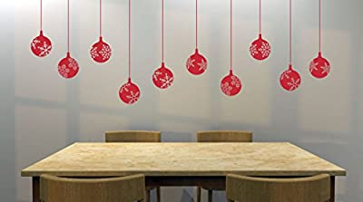 """Set of (10) 4"""" Snowflake Decorative Ornaments Removable Vinyl Decal - Perfect Holiday and Christmas stickers for Walls, Windows, Storefronts, and Offices - Red"""