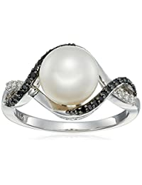 Sterling Silver 9mm Freshwater Cultured Pearl and Black Diamond Bypass Ring, Size 7