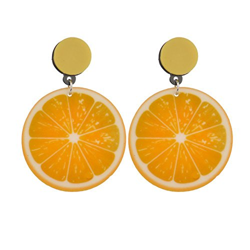(Women Korean Style Tomato Lemon Kiwi Fruit Acrylic Earrings Jewelry - Lemon)